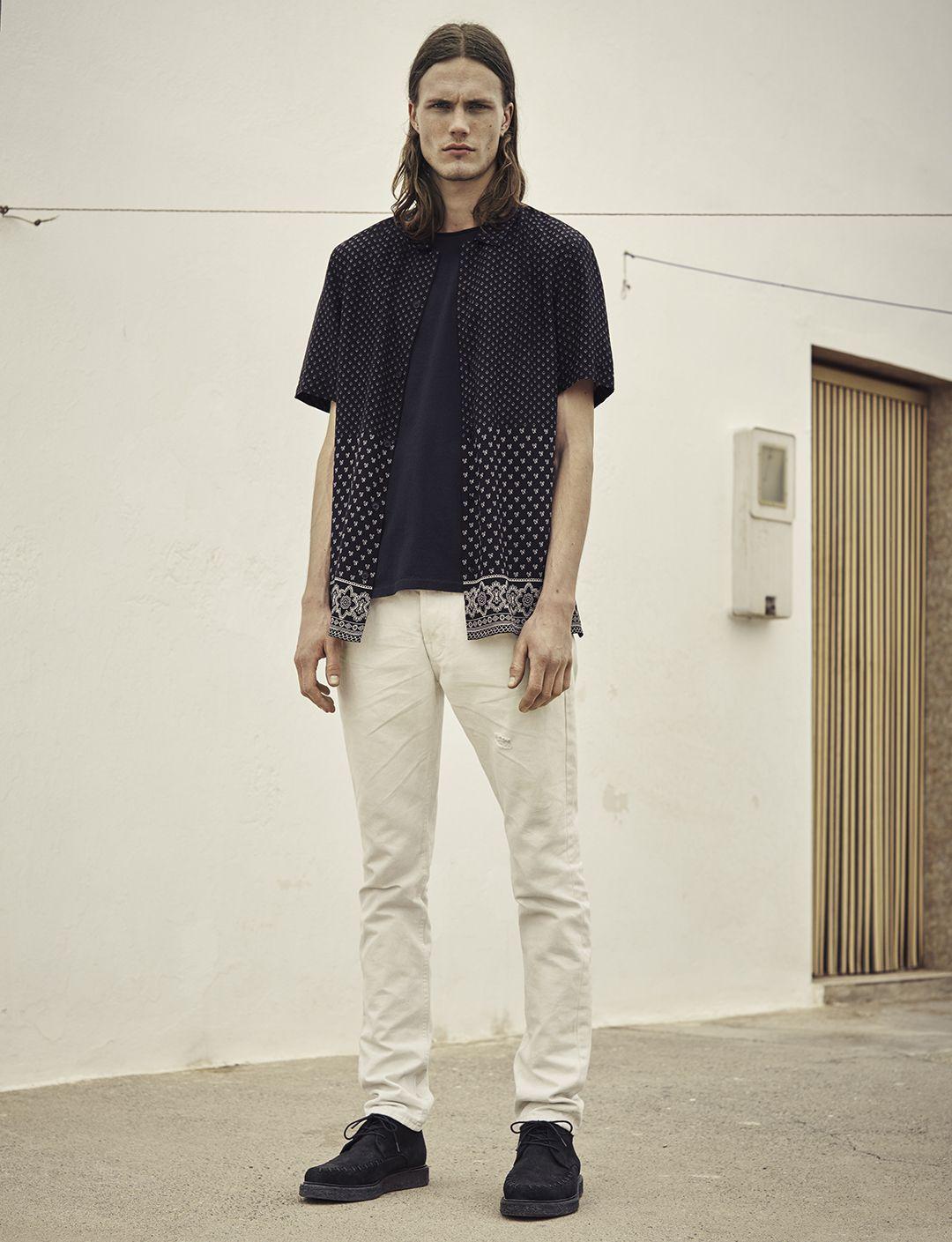 58fee119 AllSaints Men's June Lookbook Look 7: Bordure Short sleeve Shirt, Mehson  Crew T-shirt, Armstrong Pistol Jeans, Juno Boot