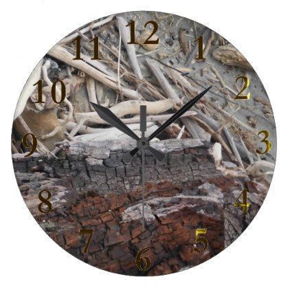 Beach Wood New Zealand Aotearoa Large Clock Home Decor Design Art Diy Cyo Custom