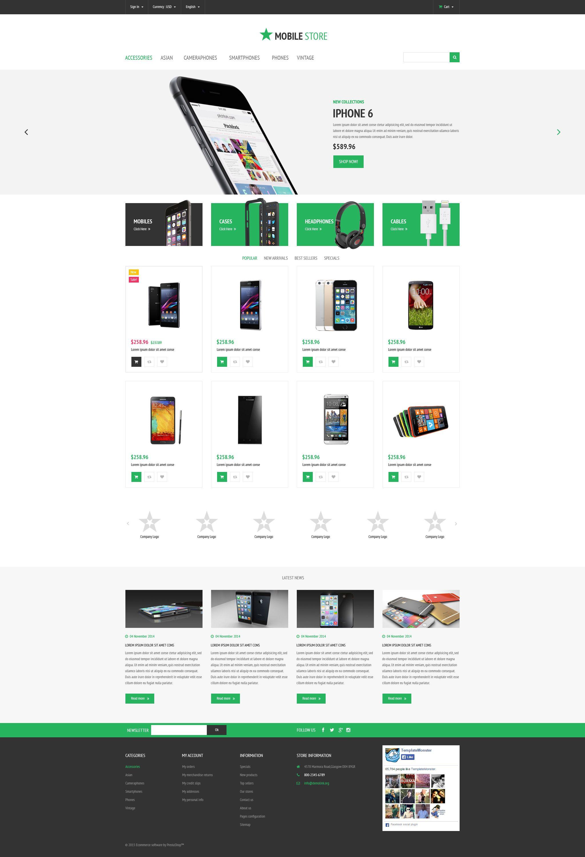 Mobile Store Prestashop Theme Website Template Flat Pinterest