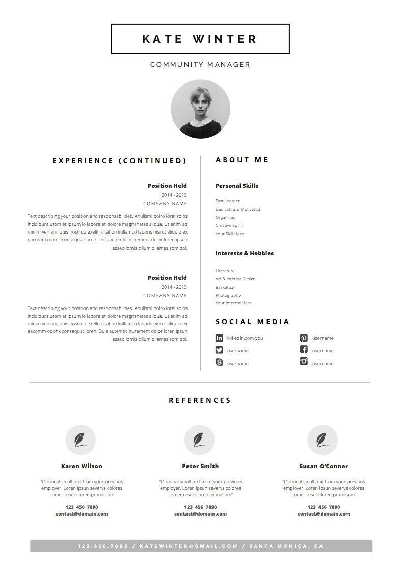 Minimalist Resume Template Cover Letter Icon Set For Etsy Minimalist Resume Template Minimal Resume Template Cv Template