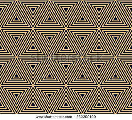 Gold On Black Seamless Geometric Pattern Based On Triangle Forms