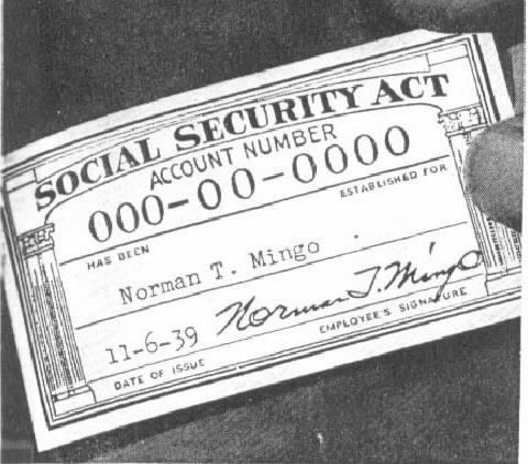 A card that was created in 1935 for the social security act to - Social Security Form
