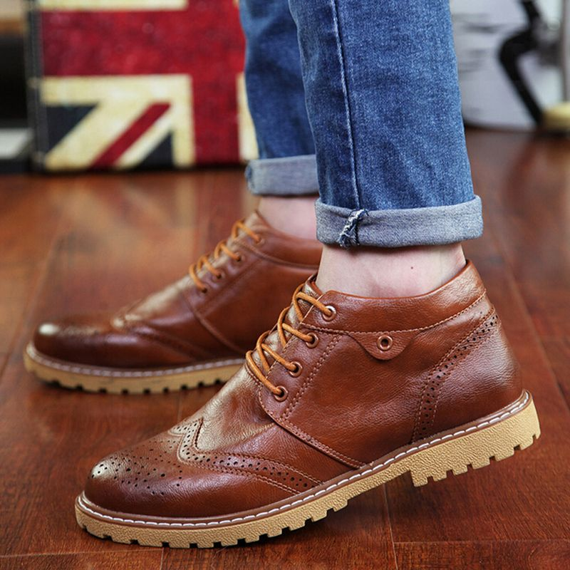 Men's winter shoes/Leather shoes/Men and velvet padded business casual shoes high cotton/ father shoes
