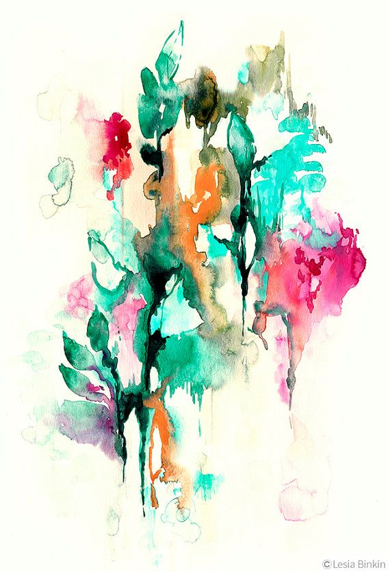 Moonlight Jade By Lesia Binkin Abstract Watercolor Art Abstract