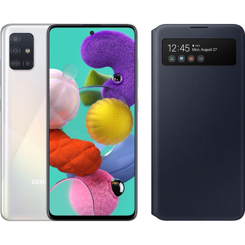 Samsung Galaxy A51 + Weiß Samsung S Ansicht Cover Black Wallet heute bezahlen Sie nicht, sondern