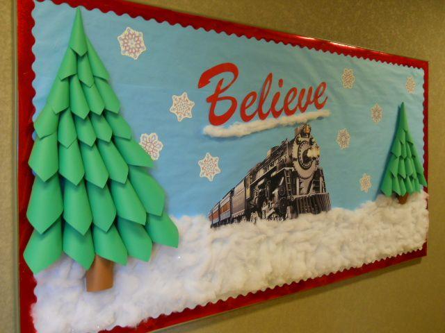 Polar Express Bulletin Board with 3-D trees-my best yet! More - Polar Express Bulletin Board With 3-D Trees-my Best Yet! €� School