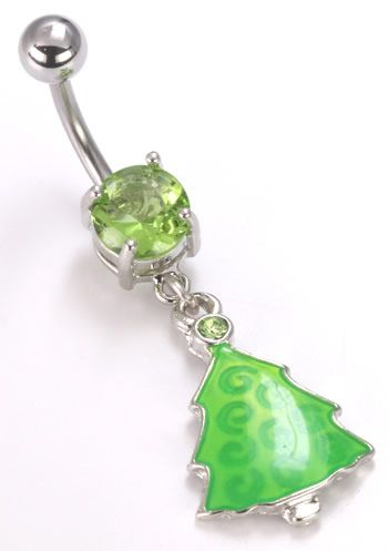 """14g (7/16"""") Peridot Green Christmas Tree Dangle Charm: Add some festive fun to your wardrobe with this tree-shaped belly ring featuring peridot gemstones! Makes an extra-special gift for August babies since the peridot is their gemstone. Sold individually, these tree-shaped navel rings are $4.99 each or $4.50 when you buy one for yourself and one for a friend!"""