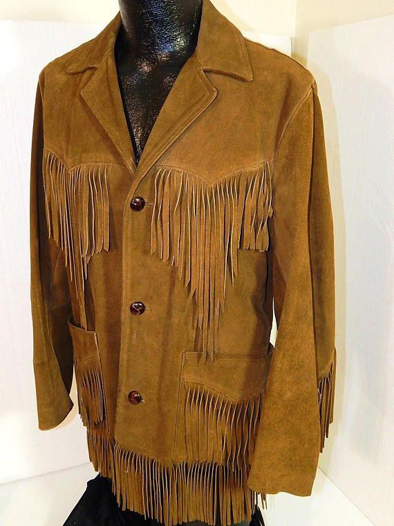 4040ca302 Vintage Pioneer Wear Men HEAVY Suede Leather Coat FRINGE Cowboy ...
