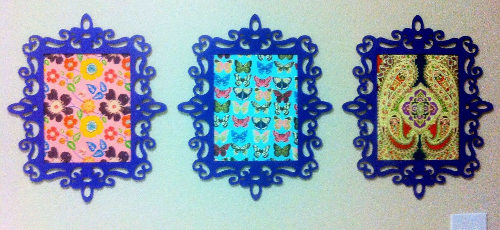 Laser-cut wood frames from Michaels (spray painted) with pretty gift ...