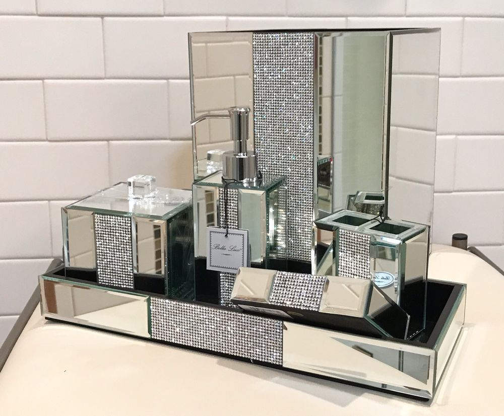 Attirant 6pc Bella Lux Mirror Crystal Rhinestone Luxury Bathroom Accessory Set