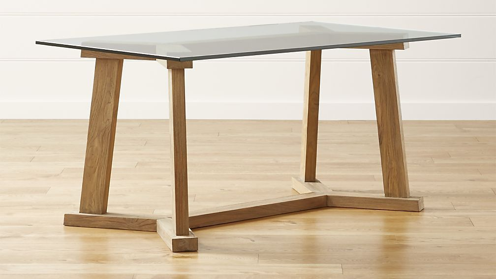 Teak Reclaimed Wood Dining Table With 60 X36 Rectangular Glass