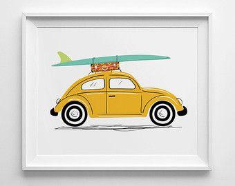 Vw Beetle Art Print Vw Bug Print Surf Board Art Nursery Wall Art Nursery Decor Surf Trip Volkswagen Beetle V Beetle Art Surfboard Drawing Beetle Drawing