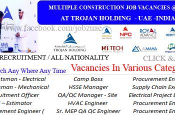 Latest Construction Jobs Openings At Trojan Holding Uae 2017