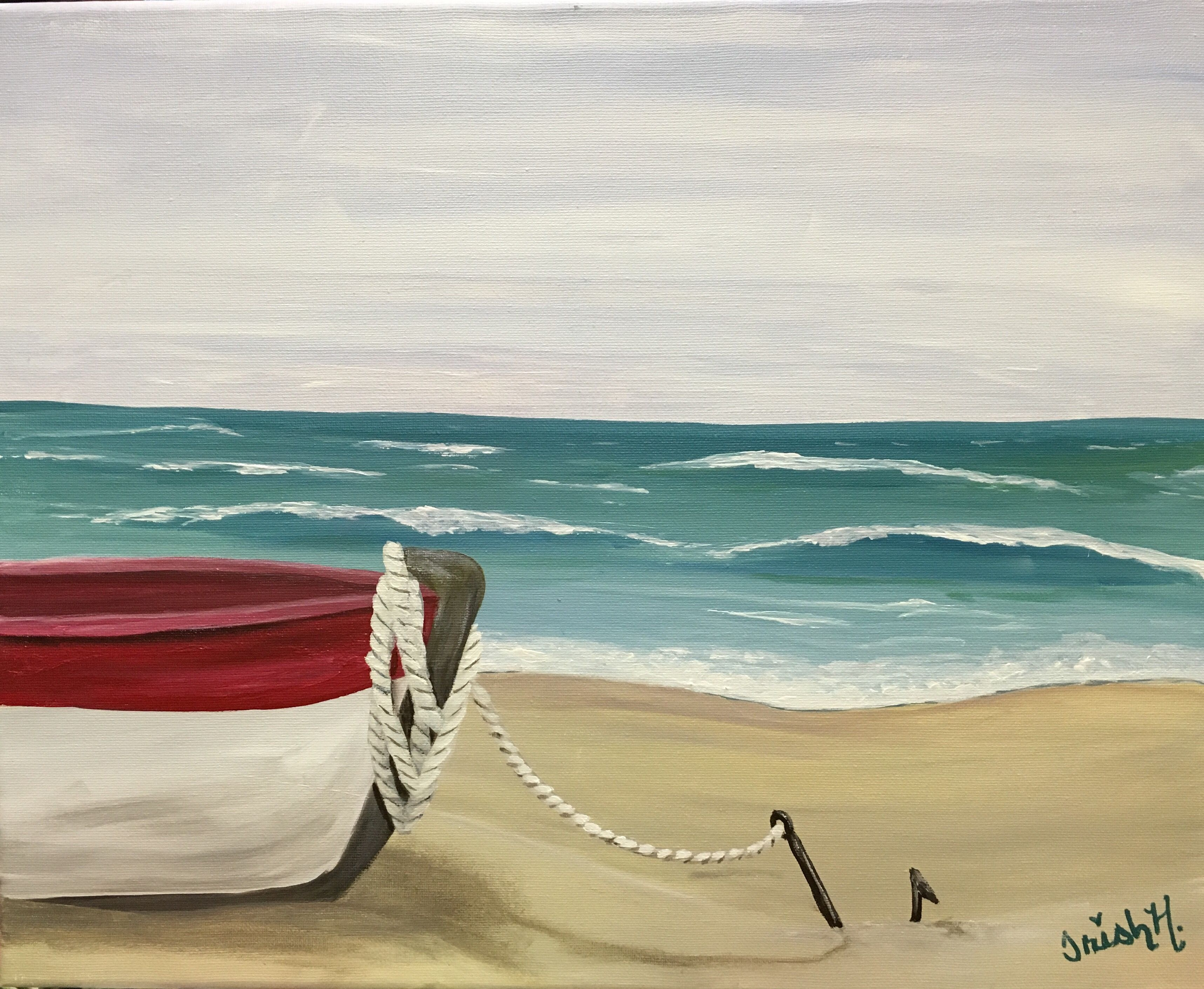 Boat at the beach anchored 16x20 acrylic on canvas