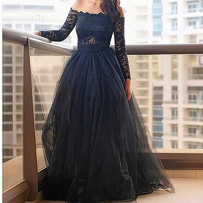 Off Shoulder Long Sleeve Prom Dress   Sexy, Black prom dresses and ...