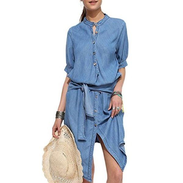 Bigood Kurz Arm Damen Jeanskleider Kleid Plissee Form Blusenkelid Dunkelkleid Hellblau M