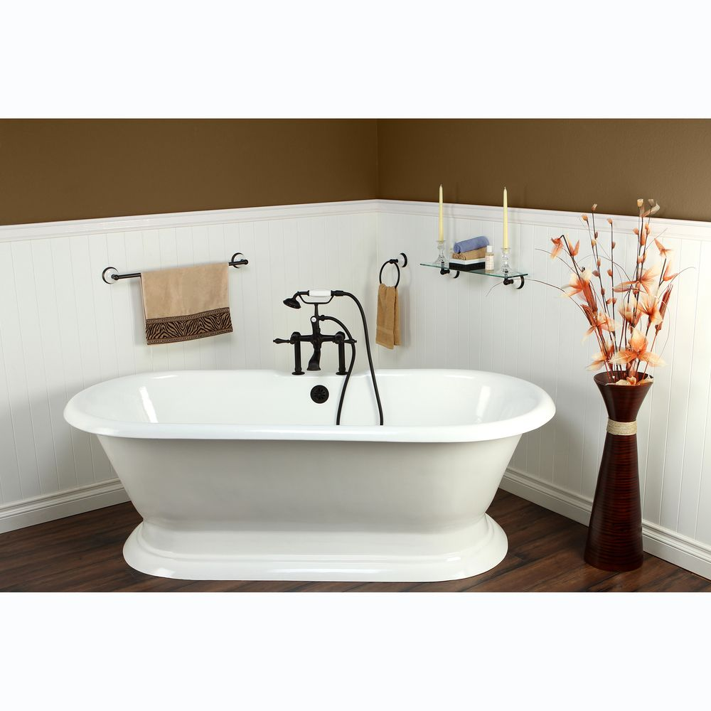 Kingston Brass Double-ended Cast Iron 72-inch Pedestal Bathtub with ...