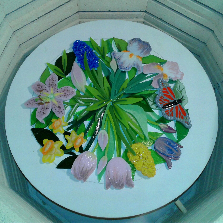 Custom Spring Flowers bowl. Fused glass ornaments, Fused
