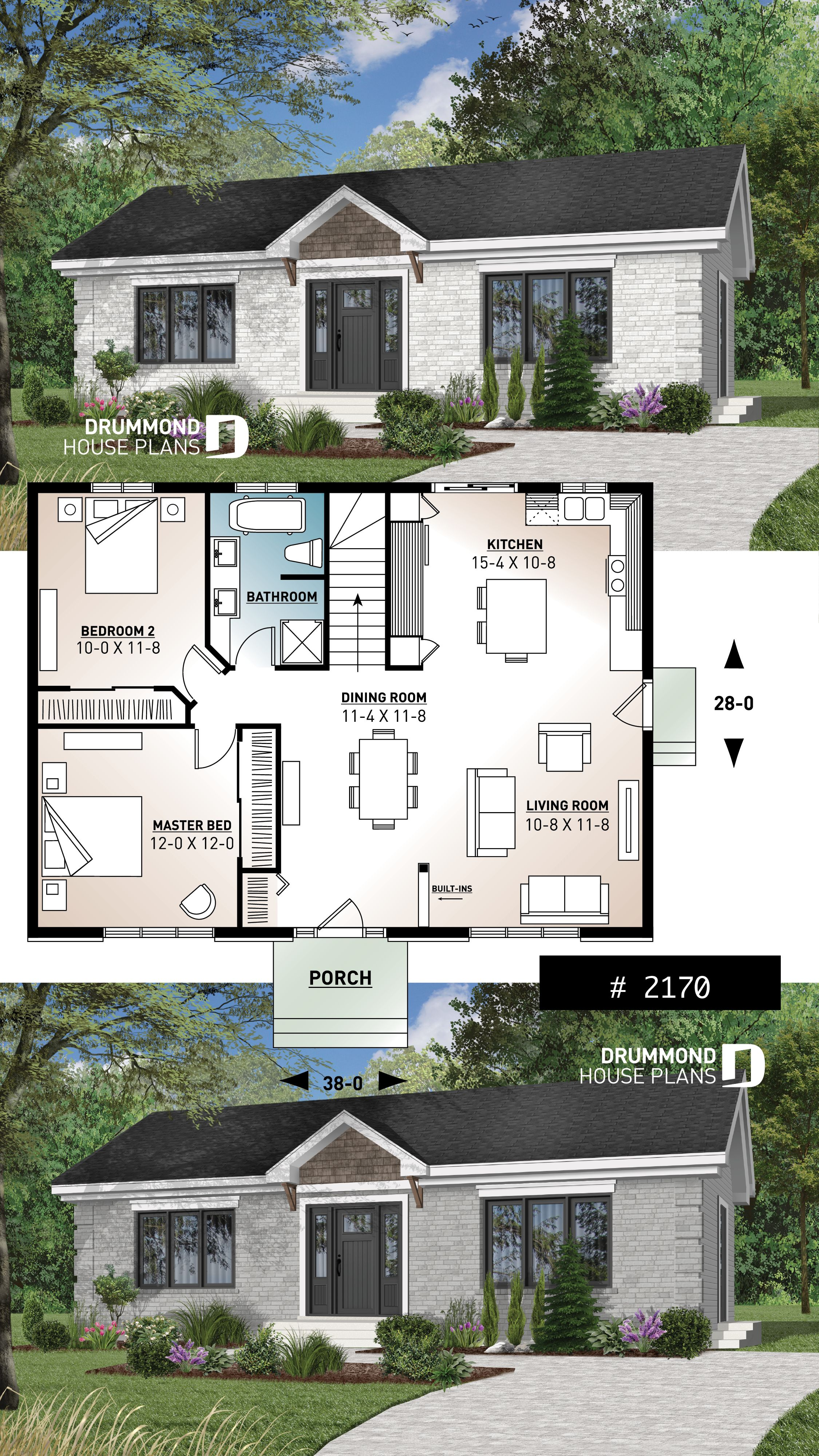 Discover The Plan 2170 Briere Which Will Please You For Its 2 Bedrooms And For Its Ranch Styles Sims House Plans Drummond House Plans House Plans