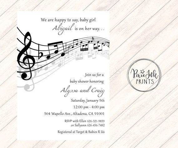 Music Notes Baby Shower Invitation Musical Th