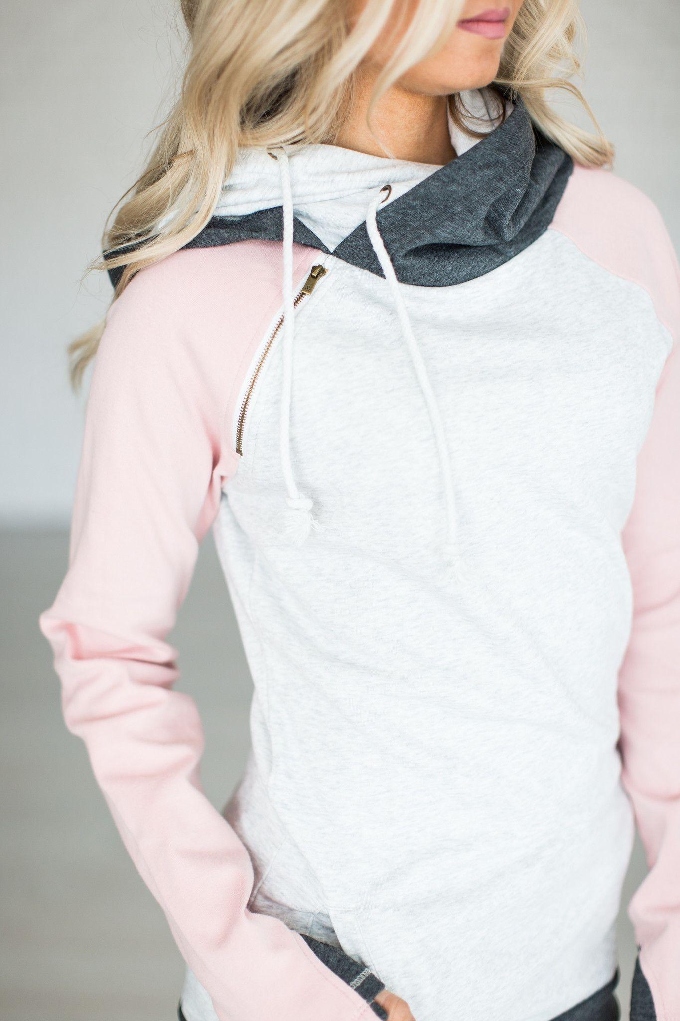 Pink sweater dress outfit  Baseball DoubleHood Sweatshirt  Pink  Sweatshirt Clothes and