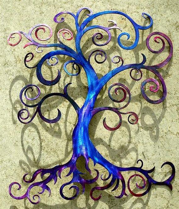 Tree Of Life Curly Tree Wall Decor Wall By Humdingerdesignsetsy Metal Tree Wall Art Tree Wall Art Diy Metal Tree