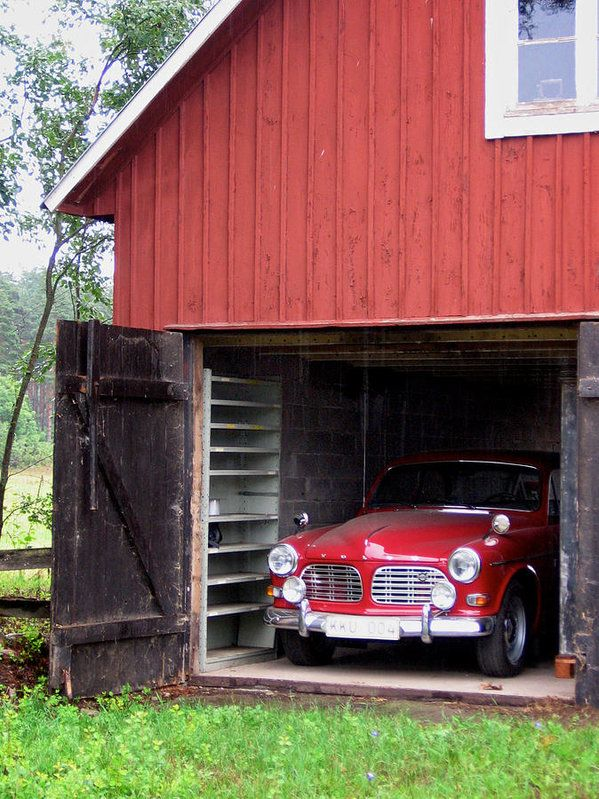 1967 Volvo In Red Sweden Barn Art Print By Mary Lee Dereske Europe Find