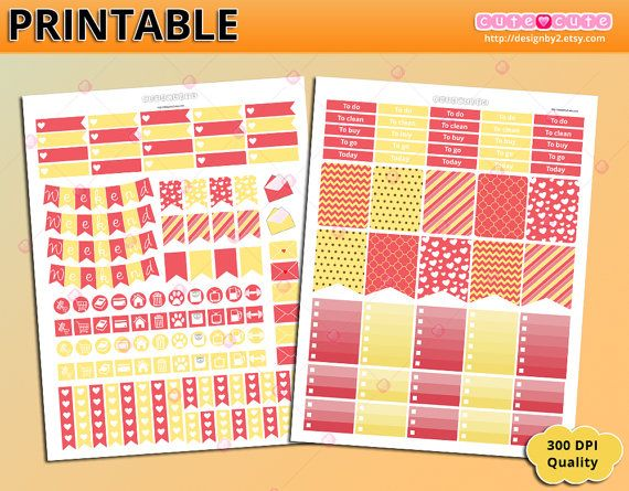Coral kit Printable planner stickers for Erin condren - Happy planner - Filofax - organizing stickers