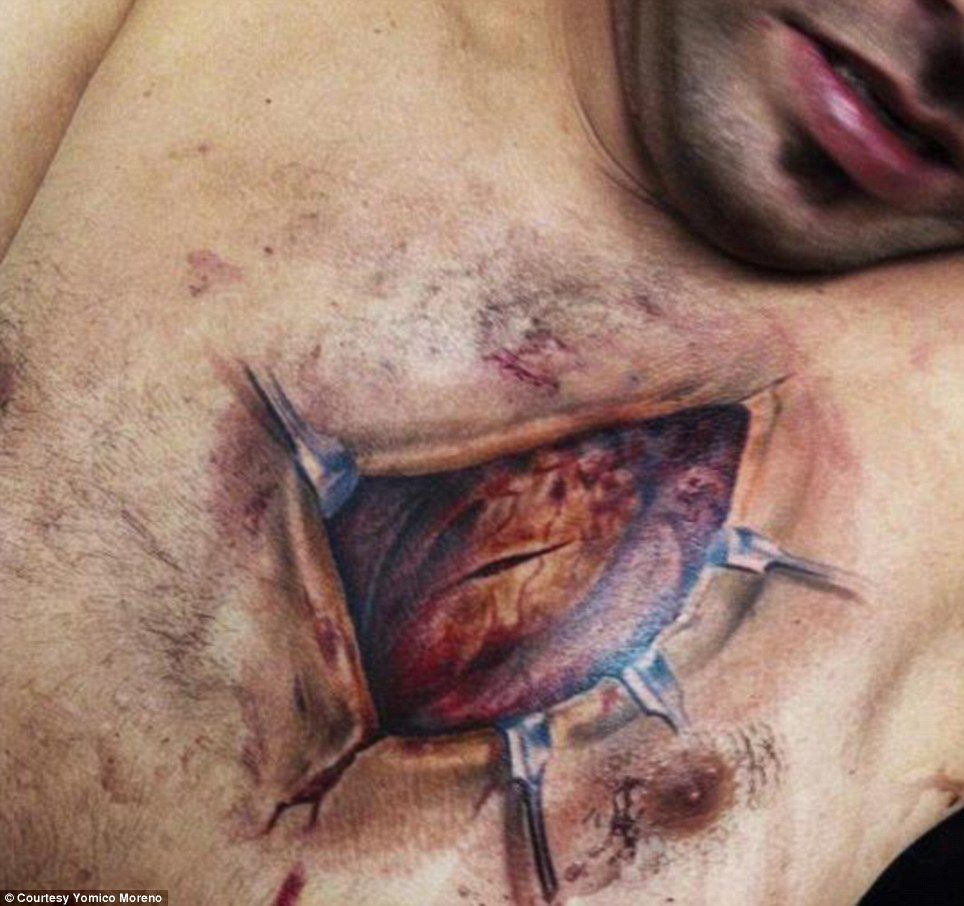 Only skin deep the hyper realistic tattoos that give the matters of the heart this tattoo also by yomico moreno shows tattooed clamps buycottarizona Choice Image