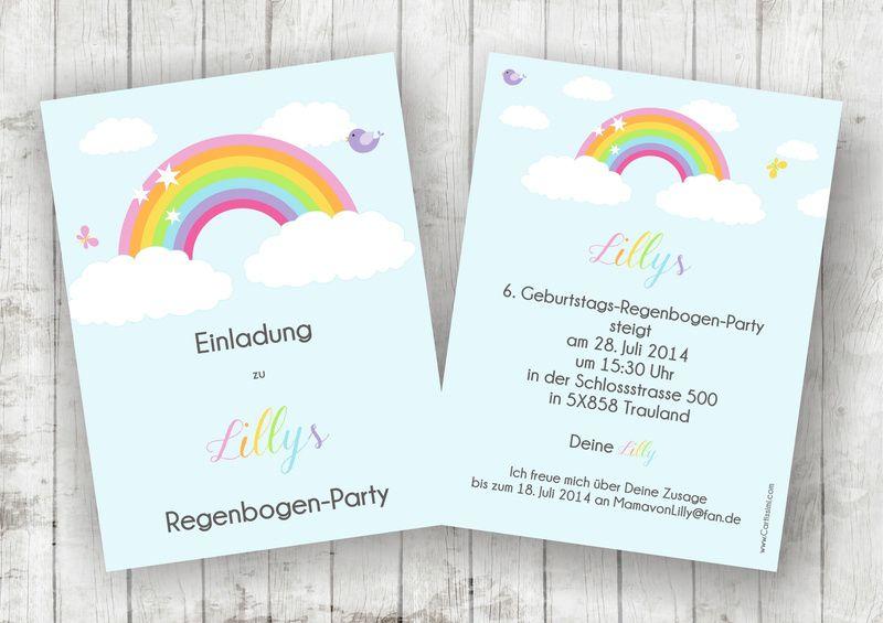 """5 einladungskarten - serie """"rihanna regenbogen"""" von"""