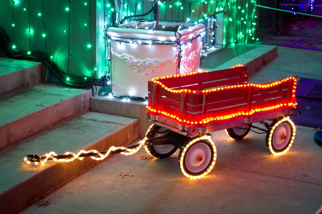 Little Red Wagon With LED Christmas Lights And Tape Light