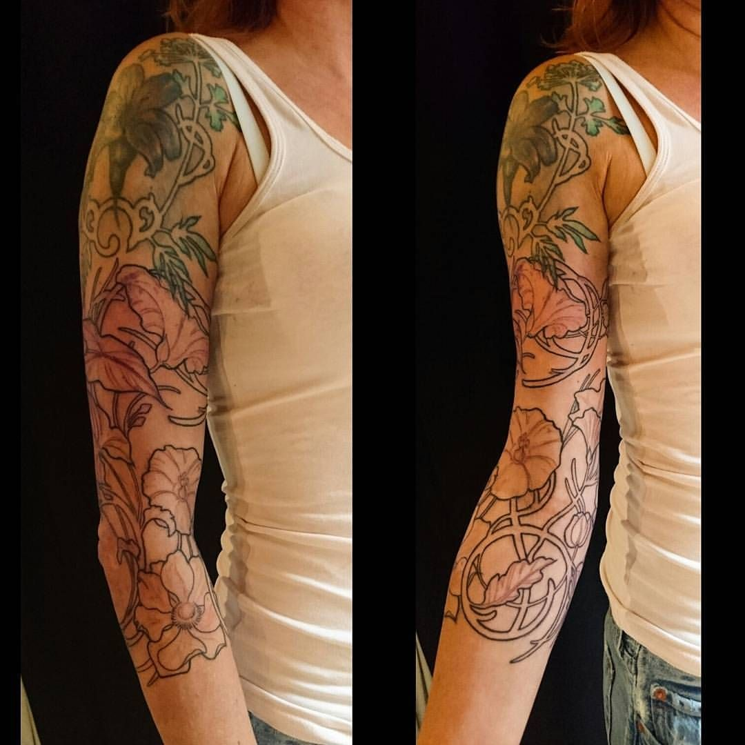 Art Nouveau 3 4 Sleeve On Jamaica By Nancytattooer Expanding An Older Piece With Flowers And Swirls Fir Nouveau Tattoo Art Nouveau Tattoo Art Deco Tattoo