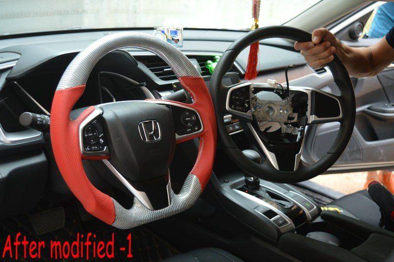 Custom Made Carbon Fiber Steering Wheel For 2016 2017 Honda Civic Color Design Customizable Steering Wheel Carbon Fiber Honda Civic
