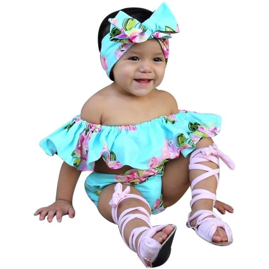 19fd716b1743 Kids baby girls set Floral Toddler Baby Girl Off Shoulder T Shirt Tops  Shorts Outfit children Clothes Sets baby girl clothes
