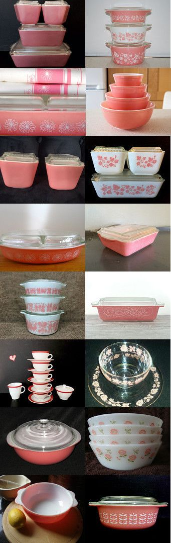 Pretty in Pink Pyrex! by Claudia on Etsy--Pinned with