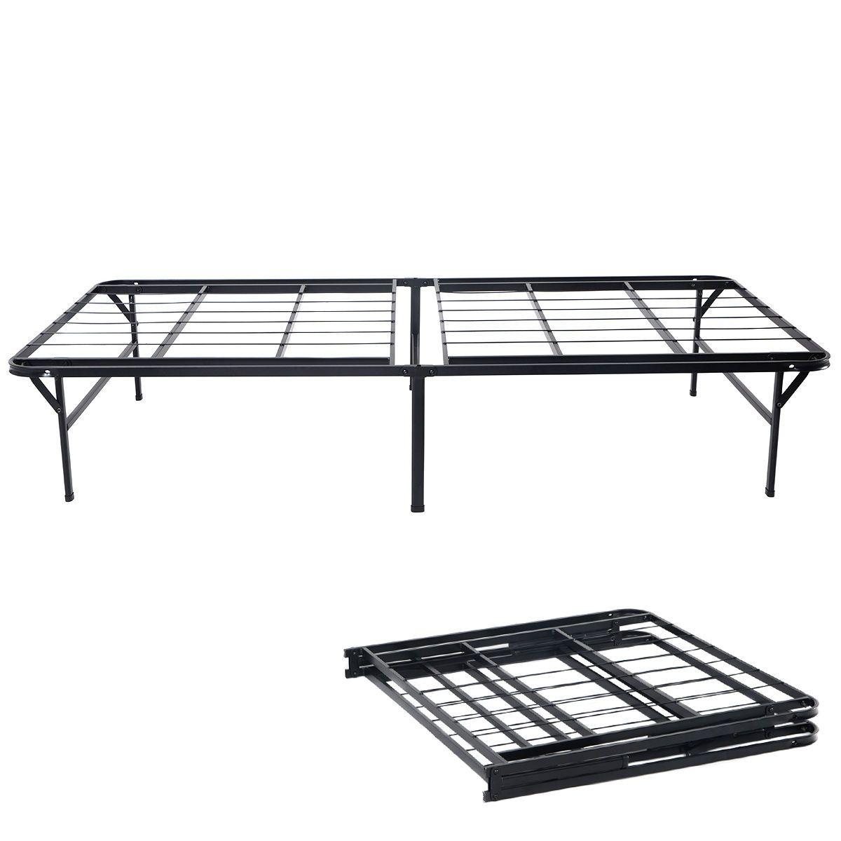 Heavy Duty Folding Bed Platform Mattress Foundation Metal Frame