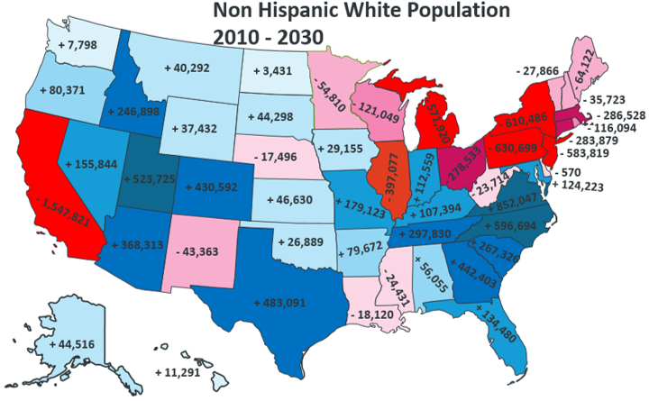 White Population In America 2010 2030 Ethnic Maps - Us Census Race Map