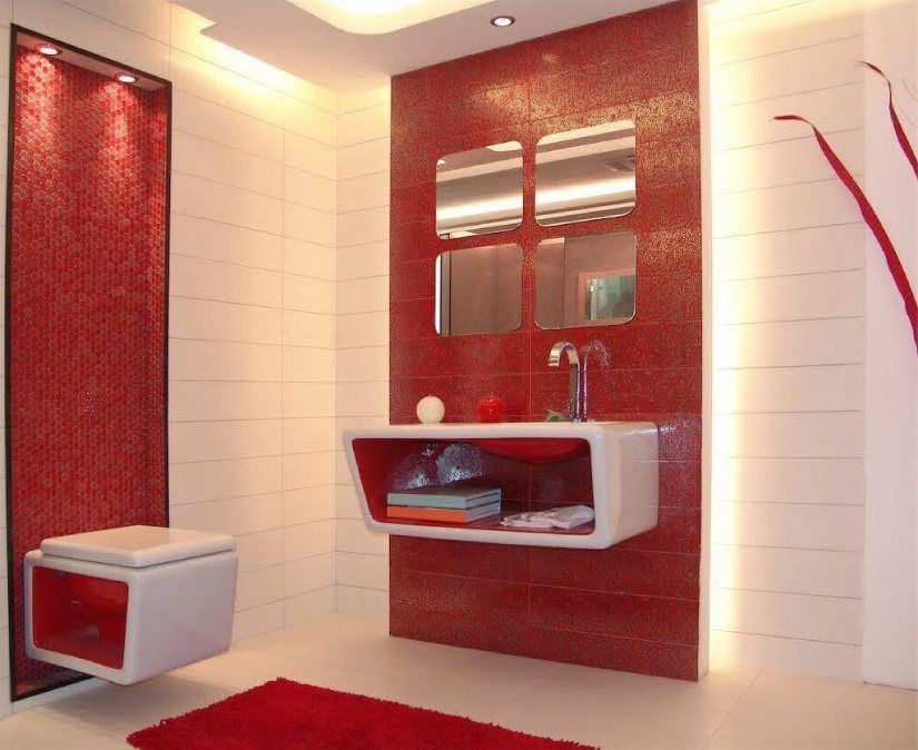 Modern 🛁 Bathroom Elegantly Planned Dry Area in Red ...