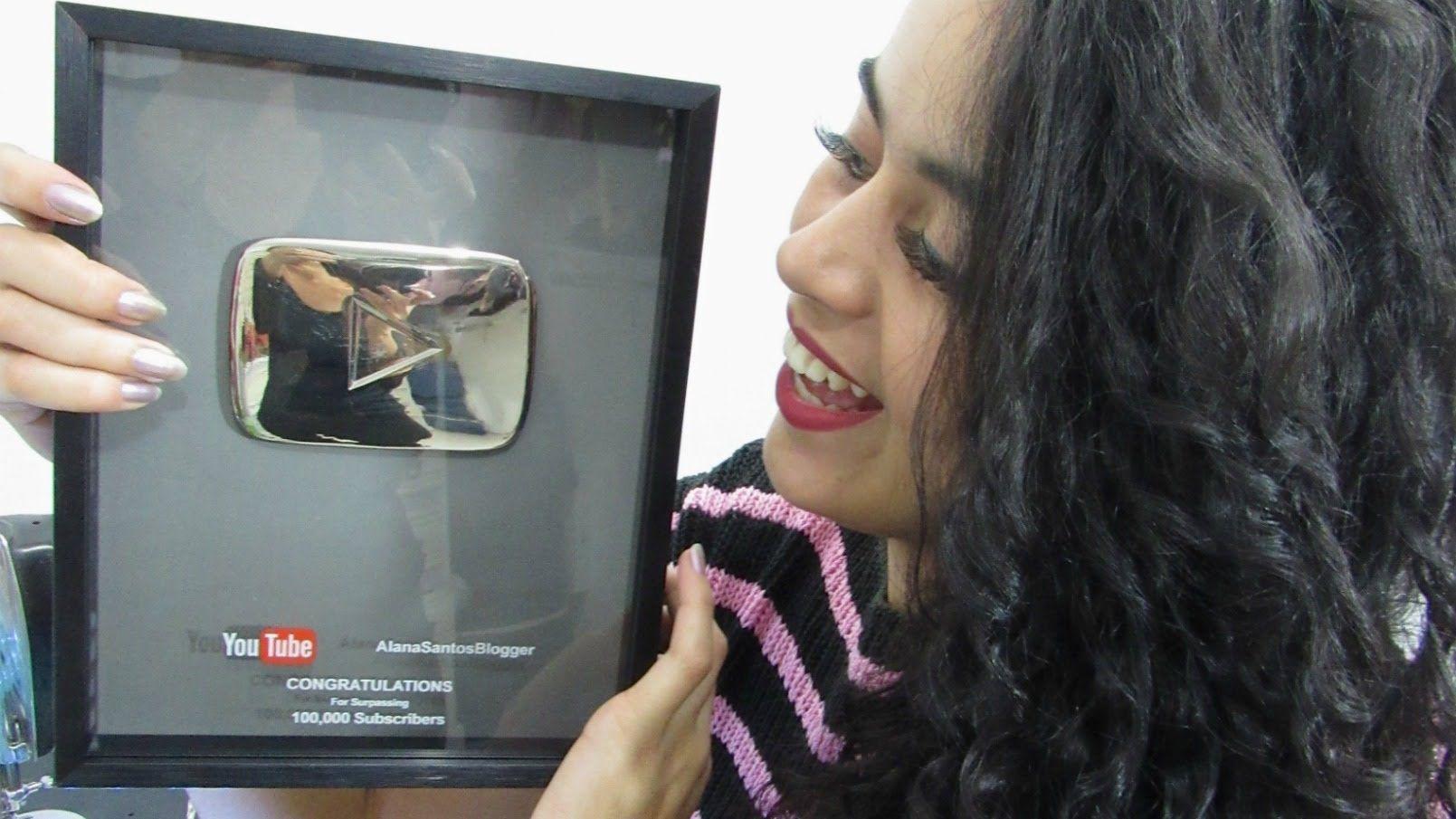 PLACA 100 mil criadorxs no youtube Alana Santos Blogger