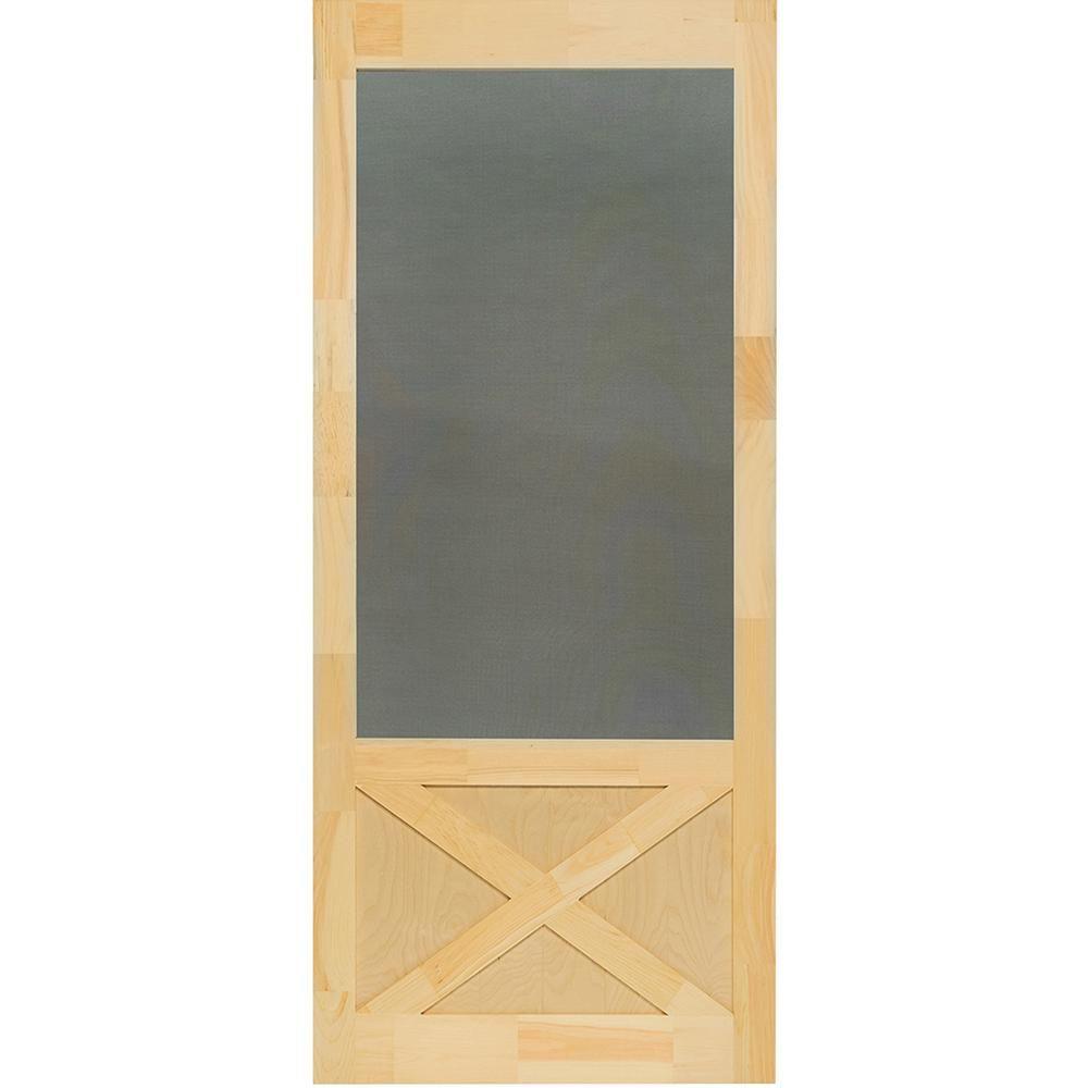 Kimberly Bay 32 In X 84 In Thompson Natural Pine Screen Door In 2020 Wood Storm Doors Painted Screen Doors Screen Door