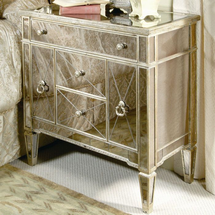 Mirrored Borghese Nightstand Always Wanted These And Matching Bedroom Set Mirrored Furniture Furniture Mirrored Nightstand
