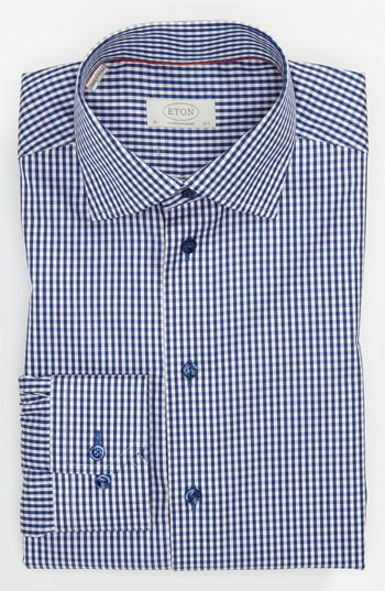 ba9d8c656 Free shipping and returns on Eton Contemporary Fit Dress Shirt at  Nordstrom.com. Tight gingham checks and iridescent buttons define a modern  dress shirt cut ...