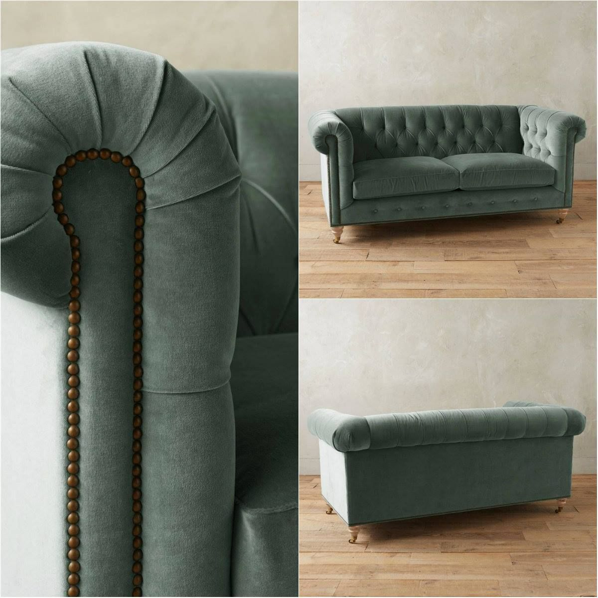 Dreipunkt Designer Leather Sofa Mustard Yellow Two Seat: Sage Green Tufted Velvet Chesterfield Sofa!