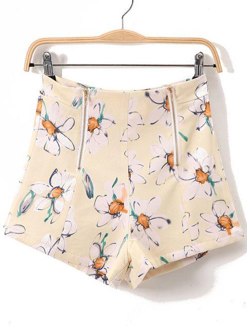 Shorts recto floral cintura media-Amarillo EUR17.52