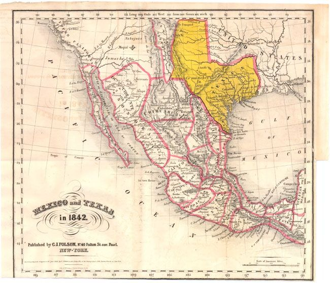 Small Map Of The United States.1842 This Small Map Of The Southwestern United States Shows An