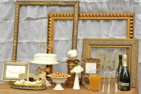 Refreshment Table For A Golden Engagement Party