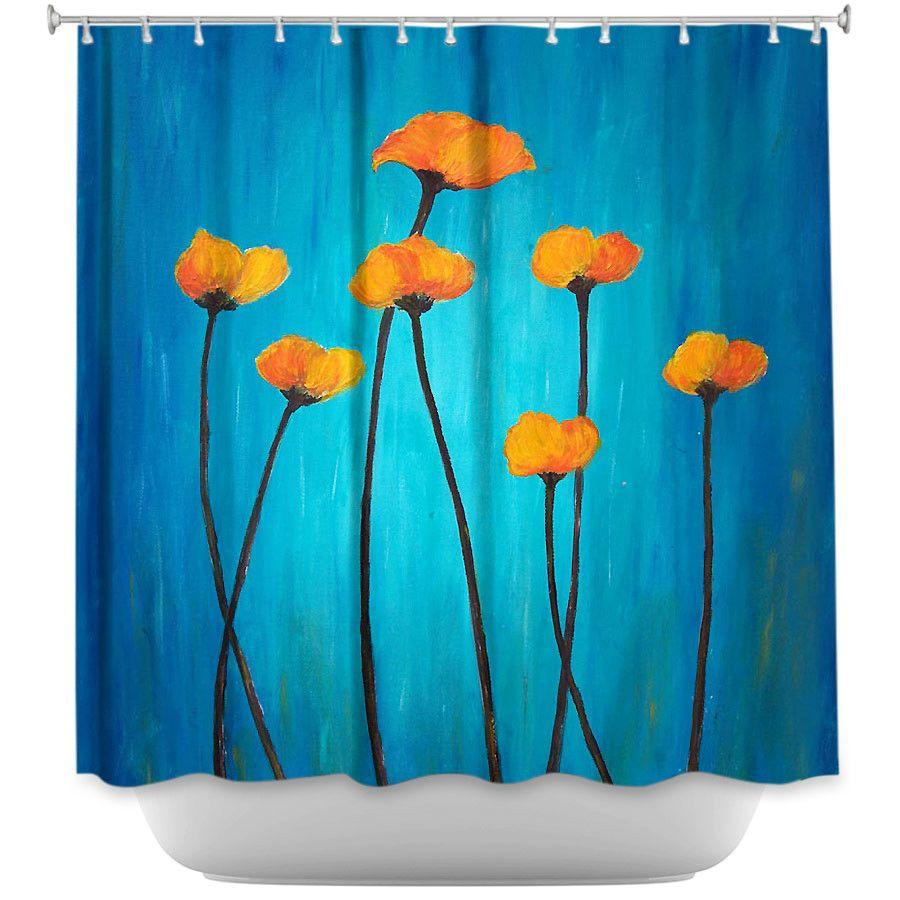 Eternal poppies by tara viswanathan fabric shower curtain bath