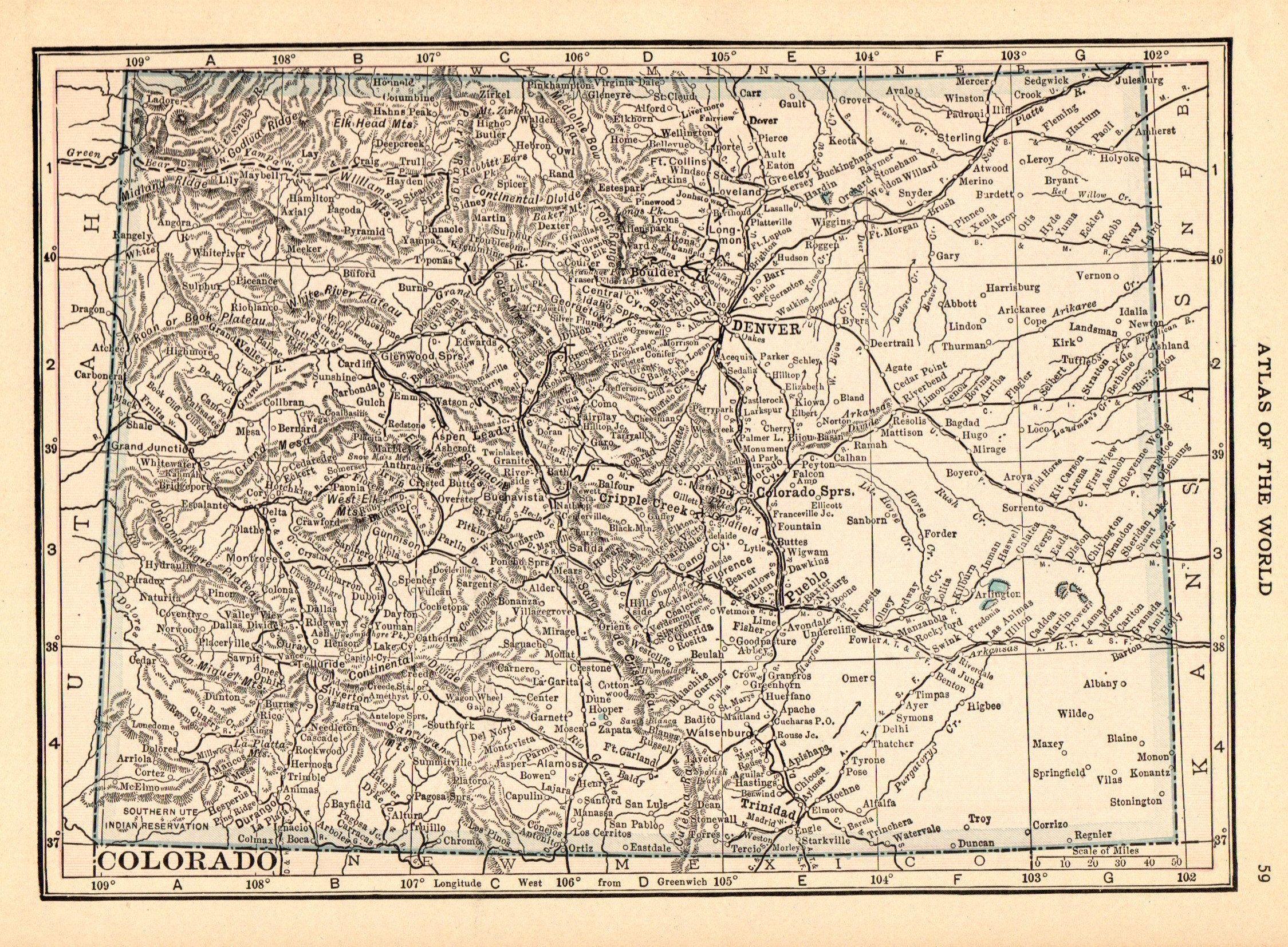 1916 Antique Colorado State Map Vintage Map Of Colorado Gallery Wall Art Decor Anniversary Gift For Birthday Wedding Haw Colorado Map Vintage Maps Vintage Map