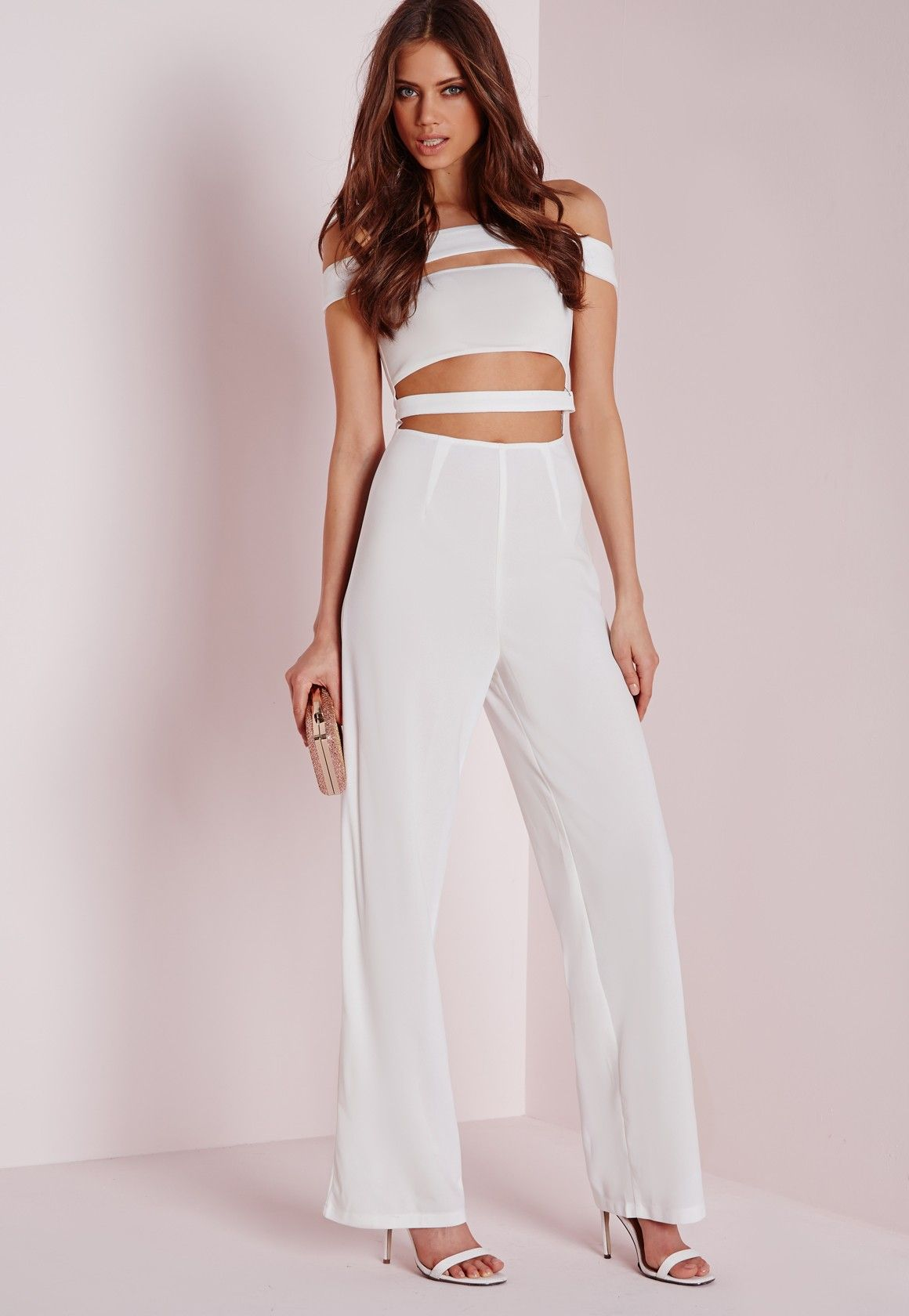 a21a9f103c3 Missguided - Strappy Bardot Jumpsuit White
