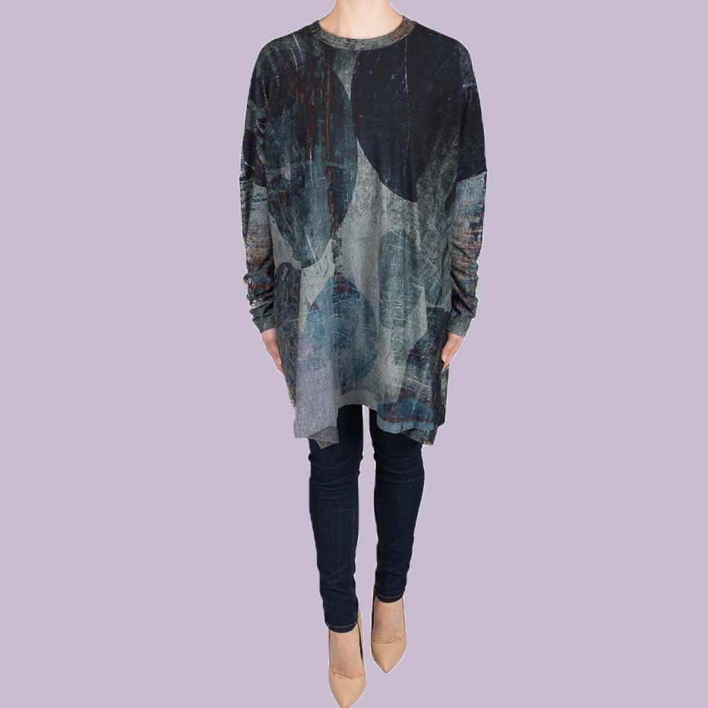 Crea concept dress blue print crea concept clothing